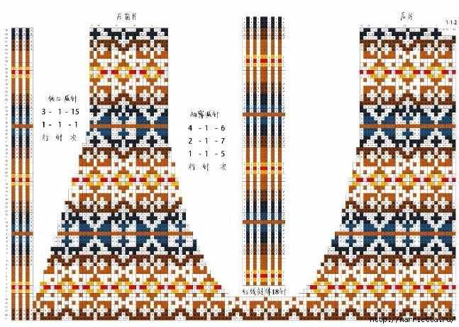 Жаккардовый жилет спицами. Схема (3) (647x462, 291Kb)