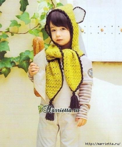Детский шарф-капюшон с ушками крючком. Схема (1) (418x503, 149Kb)
