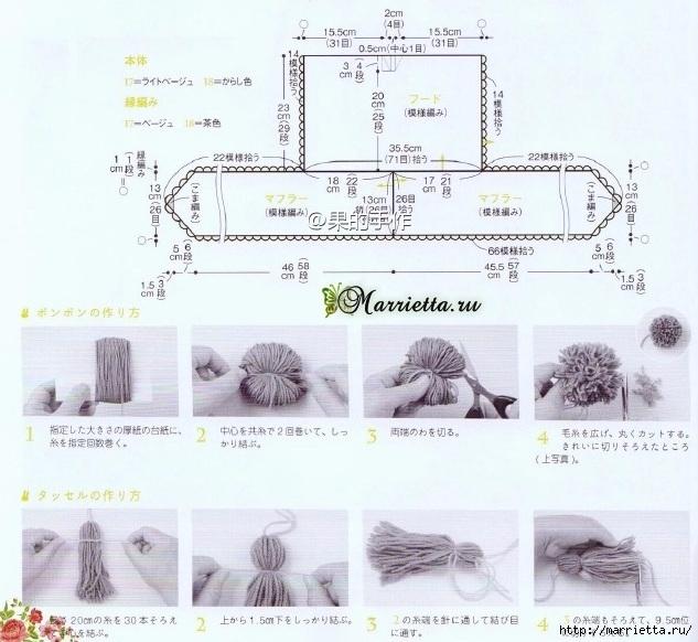 Капюшон с ушками схема вязания