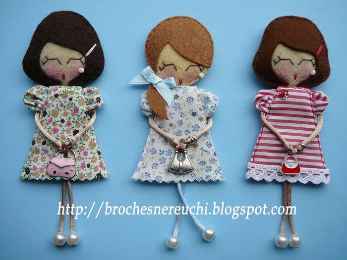 Брошки из фетра куколки