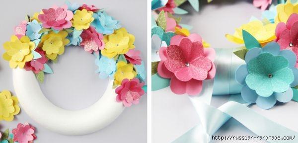 Декоративный весенний венок из бумажных цветов (4) (600x288, 85Kb)