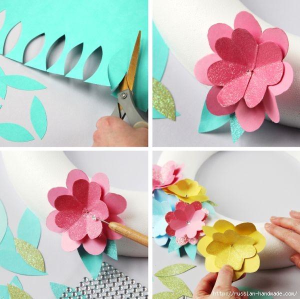 Декоративный весенний венок из бумажных цветов (6) (600x598, 156Kb)