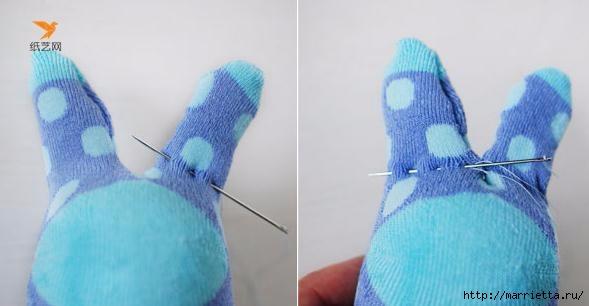 Забавные кролики из носков. Мастер-класс (10) (589x306, 75Kb)