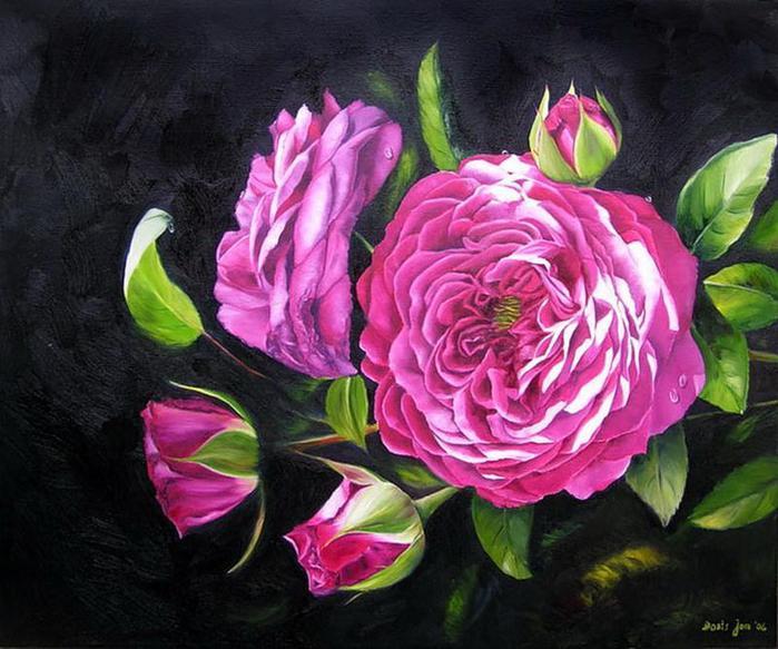 Прекрасные цветы розы акварелью