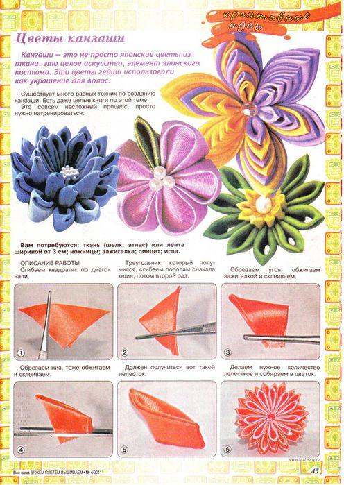 Цветы из ткани и описание