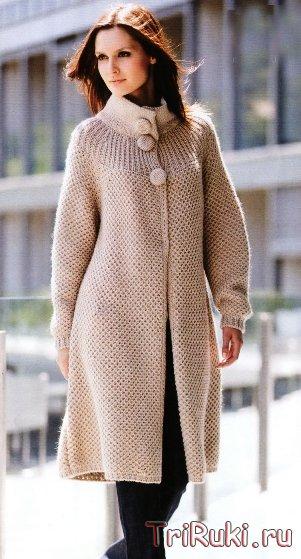 Вязание спицами модели пальто.