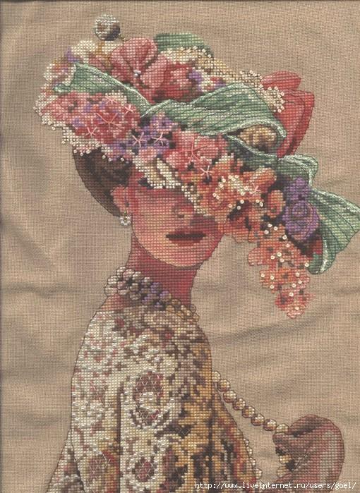 Вышивка крестом схема девушка в шляпе