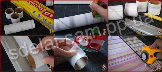 2. Размечаем карандашом по тубе необходимую ширину будущего кольца для салфеток.  Из одной тубы получается несколько...