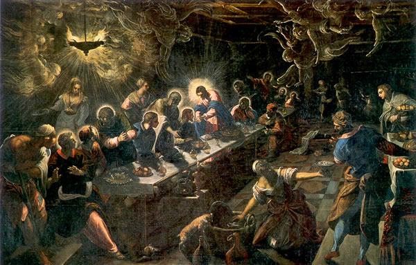 Тайная вечеря, 1592—1594 Холст, масло. 365×568 см Церковь Сан-Джорджо Маджоре, Венеция (600x383, 84Kb)