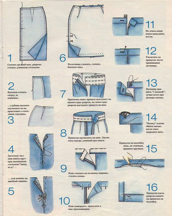 Сшить вручную юбку карандаш 4