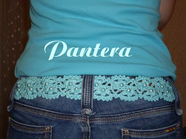 Для пояса подойдет любая схема ленточного кружева!  Поясок к джинсам.