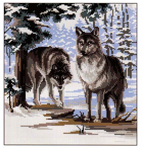 Вышивка схема волк черно белый