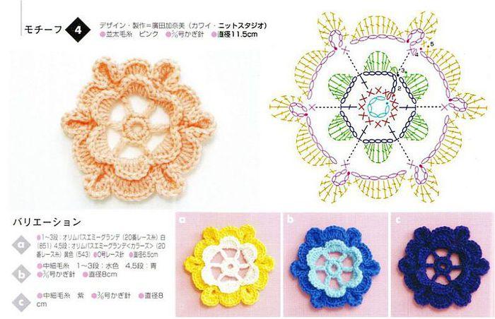 Мотивы цветка для вязания