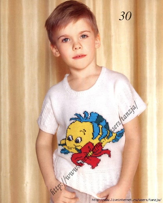 """Автор: Долженко Н. П. Размер: для мальчика 4 года.  Средняя степень сложности.  Кофта с рисунком  """"Рыбка-флаубер """" ."""