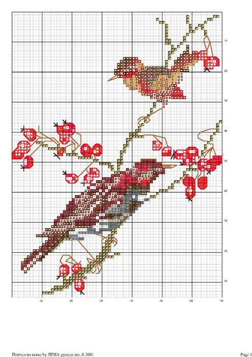 Птицы на ветке схема вышивки 302