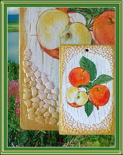 Яблоки. Декупаж с яичной скорлупой. (500x629, 246Kb)