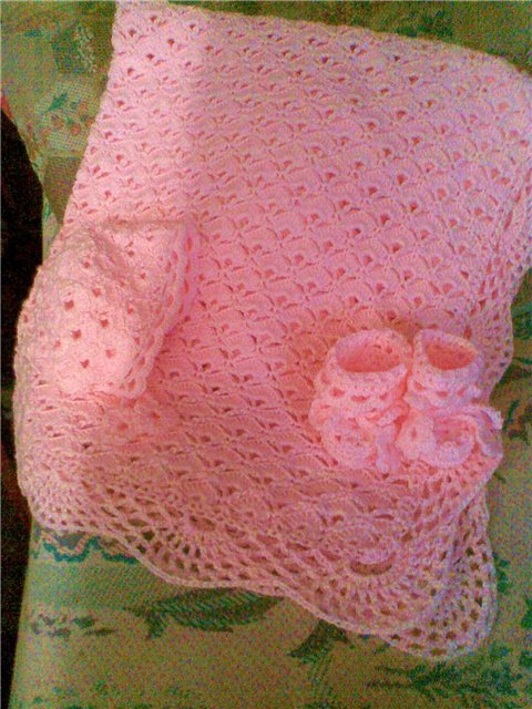 Вязаный плед для новорожденного спицами своими руками