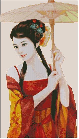 Chinese-Umbrella-cross-stitch-scheme (315x555, 41Kb)