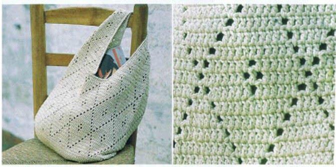 вязания полотнища сумки