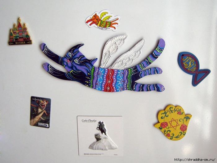 Магнит на холодильник, летающий кот, акрил, Shraddha 1 (700x525, 190Kb)