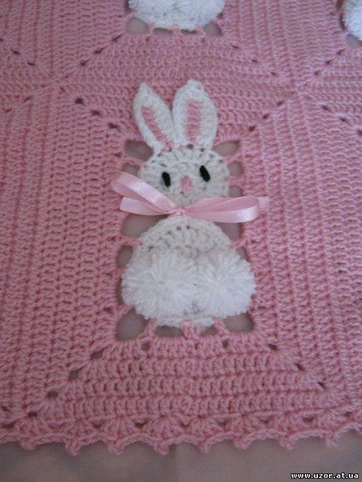 钩针兔子婴儿毯 - 荷塘秀色 - 茶之韵