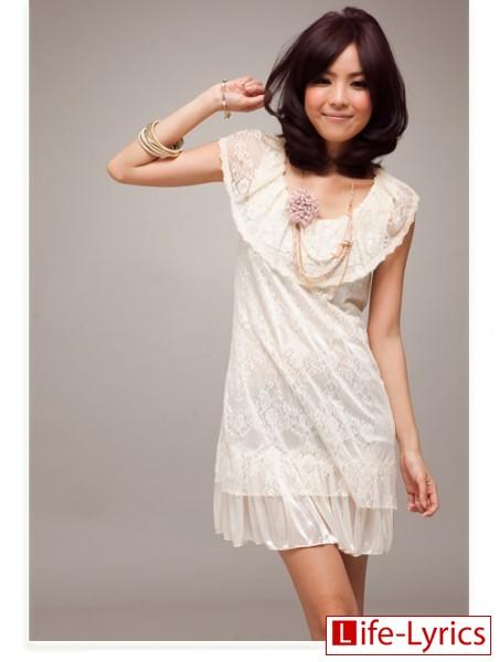 белое кружевое платье с воротником лотоса фото.