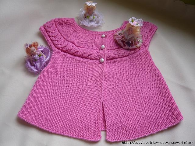 Связать спицами детское платье с рукавами