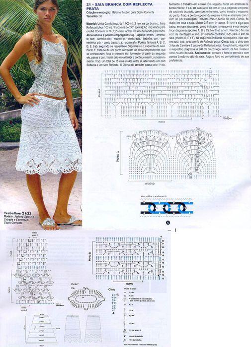 Вязаные женские юбки крючком со схемами и описанием