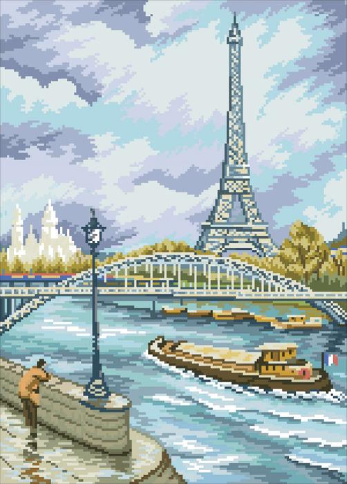 СХЕМА.  Париж.  Вышивка крестом, схемы.
