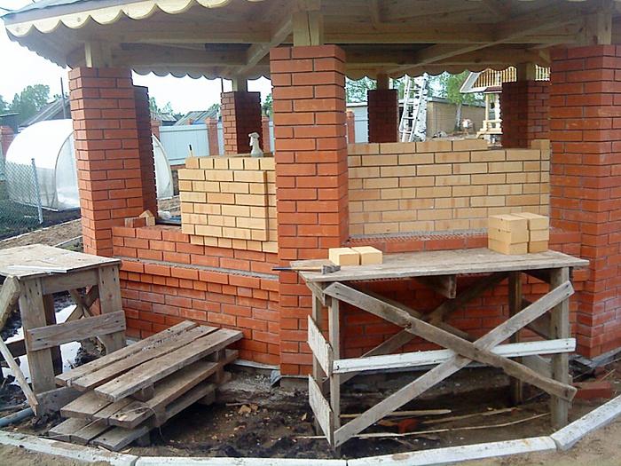 Строительство беседки из кирпича пошагово