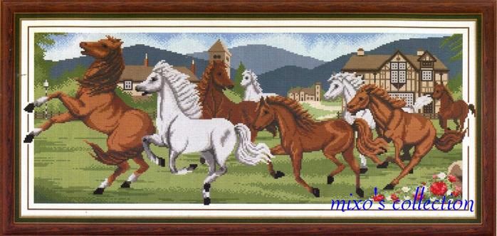 табун лошадей. вышивка крестом