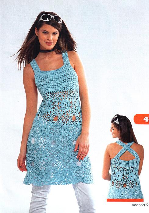 Комментарий: Ажурное вязанное платье - вязание для.