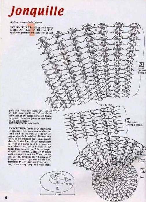 Вязание крючком летних женских шляп и схемы