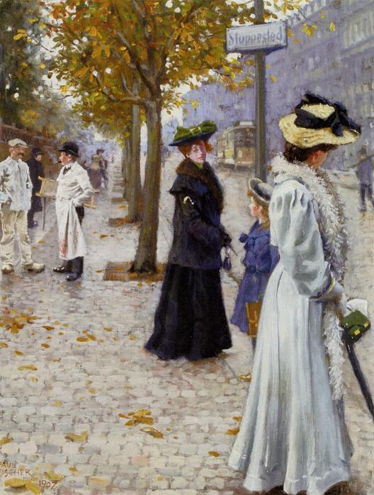 Paul Gustav Fischer_Venter_Pa_Sporvognen_1907_Oil_ (528x700, 342Kb)