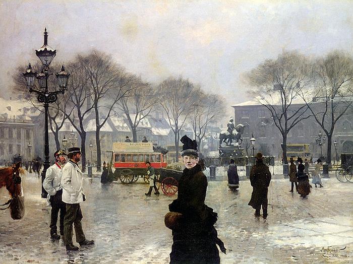 Paul Gustav Fischer Une journée Winters sur Kongens Nytorv à Copenhague 1 888 (700x524, 353Kb)