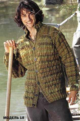 МУЖЧИНАМ.  Жакеты и т.п. Вязание крючком Crochet.  Предыдущая.
