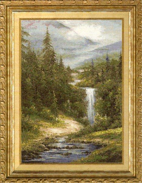 <водопад. вышивка крестом