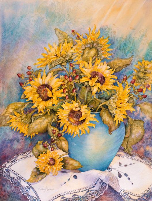 Sunlit Sunflowers (528x700, 220Kb)
