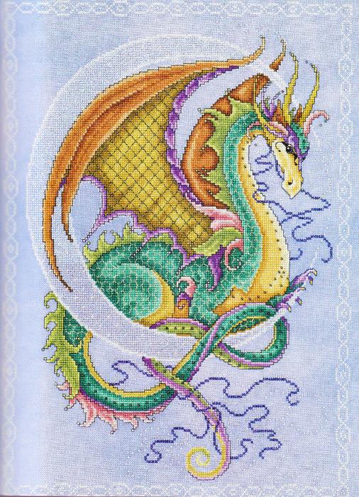 Вышивка крестом. дракончики