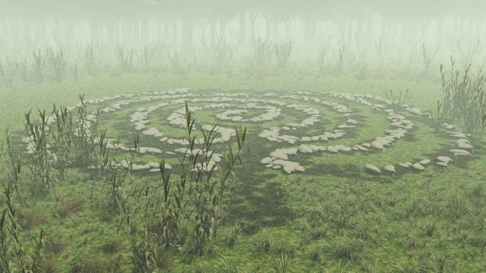 Каменный лабиринт. Примерно такой георезонатор планируется построить в аномальной зоне Молебка. Рисунок Н. Субботина (С) 2011, www.rufors.ru