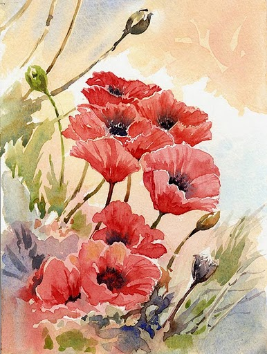 Flores vermelhas em tela (386x512, 75Kb)