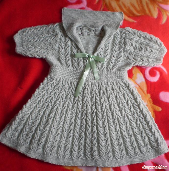 Вязанные платье для малышки спицами