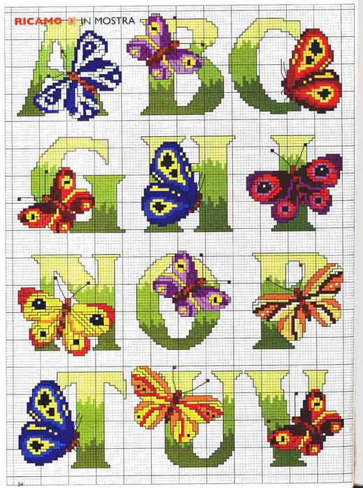 counted cross stitch kits: butterflies anphabet
