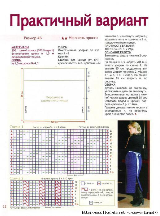 Вязание юбка спицами схемы и описание для  549