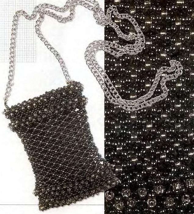 Красивые сумочки на шею из черного бисера для мобильного телефона и из красно-белого бисера. схемы плетения.