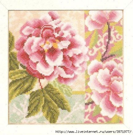 Описание: Схема для вышивки крестом - Lanarte 35043 Composition of Rose Flowers в формате xsd.  Цветы и Растения.