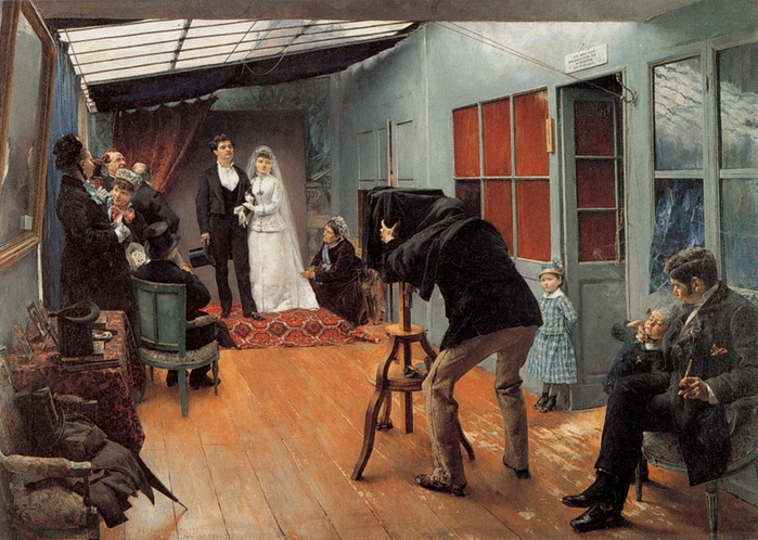 Pascal-Adolphe-Jean Dagnan-Bouveret (1852-1929) Wedding at the Photographer's (700x498, 326Kb)