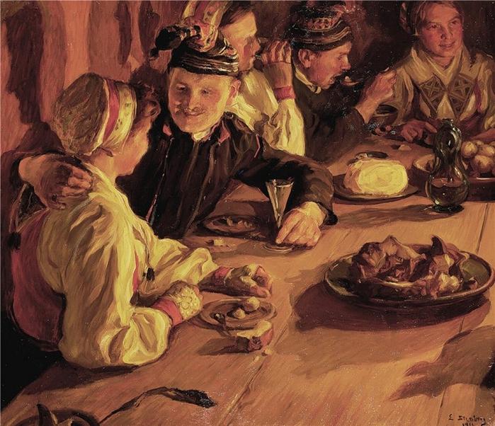 Emerik Stenberg (1873-1927) «Julagille i Dalarna». 1916 (700x602, 366Kb)