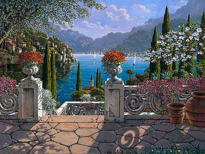 Eternal Lake Como  Oil Painting by Artist Bob Pejman  Lake Como Italy (700x526, 985Kb)