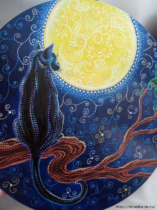 Кошка и Луна, акрил, Shraddha, 1 (525x700, 389Kb)